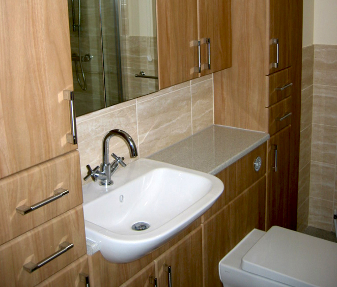 Bathroom refurbishment with cabinets
